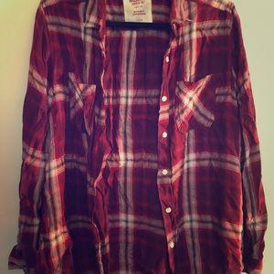 Dark red plaid boyfriend fit shirt
